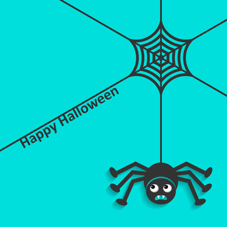 halloween spider: Happy halloween card spider web and scary spider