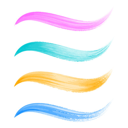 Vector colorful watercolor brush strokes wavy lines collection