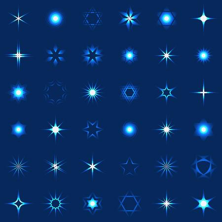 별과 빛나는 디자인 요소의 컬렉션