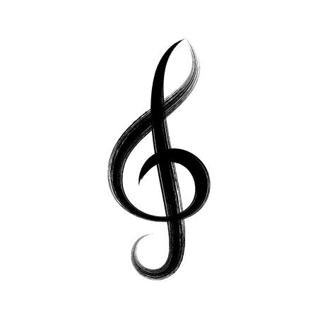 g clef: Black vector treble clef icon brush strokes design