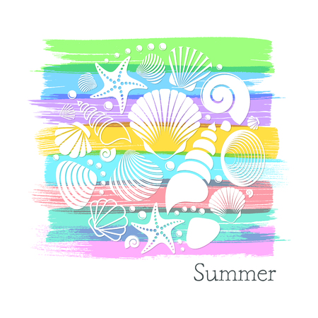 Colorful vintage summer card with white sea shells