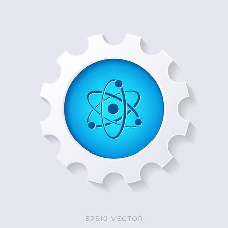 nuclear fusion: Blue vector 3d web button science symbol concept