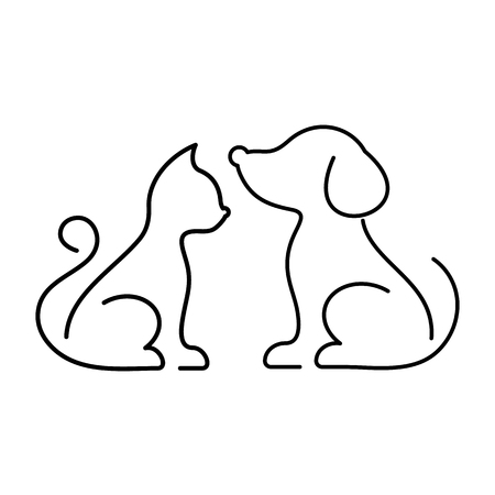 Black vector cat and dog thin line icons Illustration
