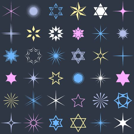 Stars and sparkles shining design elements vector collection 일러스트