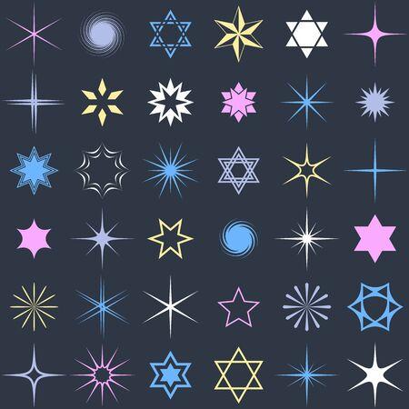 별과 빛나는 디자인 요소 벡터 컬렉션