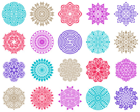 Colorful geometric round abstract mandala collection vector illustration