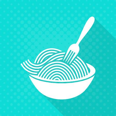 White vector spaghetti flat icon turquoise background