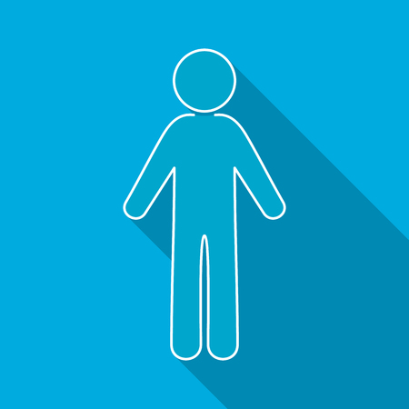 Single vector man flat icon long shadow design
