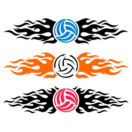 flaming: Volleyball ball flaming vector logo template collection