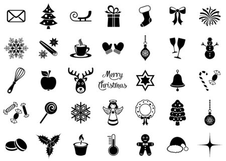 Black vector christmas icons big silhouette signs collection