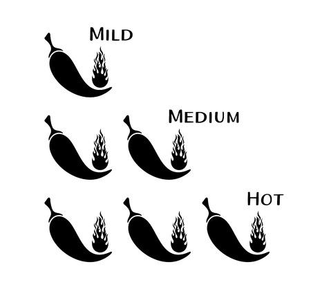 capsaicin: Black vector chilli pepper mild medium hot scale Illustration