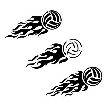 flaming: Volleyball ball flaming vector  design template set Illustration