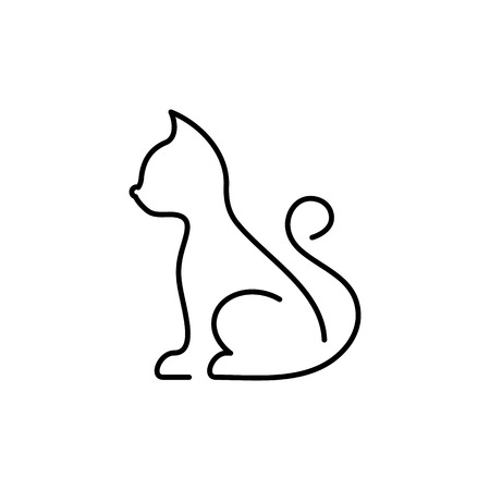 Minimalist black vector cat thin line icon isolated