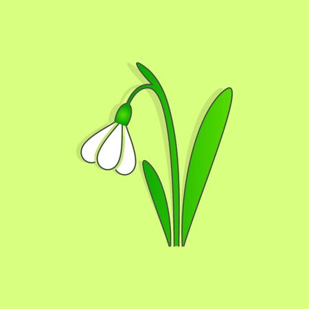 easter sign: Simple vector beautiful spring snowdrop flower easter sign Illustration