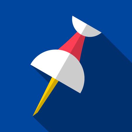 Vector push pin origami icon long shadow design Illustration