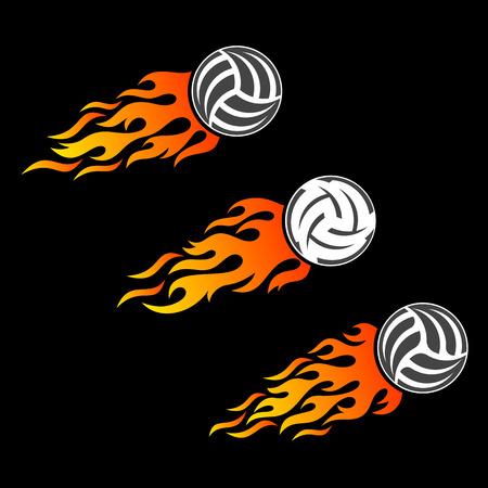 flaming: Volleyball ball flaming vector design templates Illustration