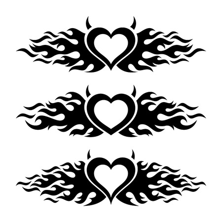 flaming: Black vector flaming heart love designs