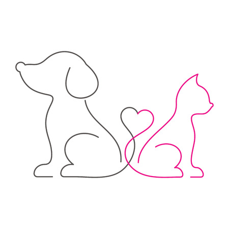 Lovely cat and dog thin line icons Stock Illustratie