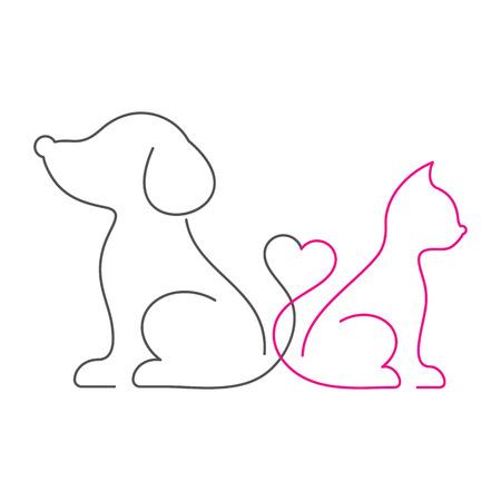 Piękny kot i pies cienka linia ikon