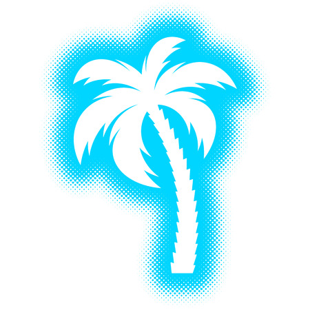 original single: Vector single palm tree silhouette icon halftone design Illustration