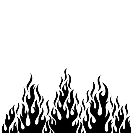 Czarnego wektoru pożarniczego płomienia projekta dekoracyjny element odizolowywający