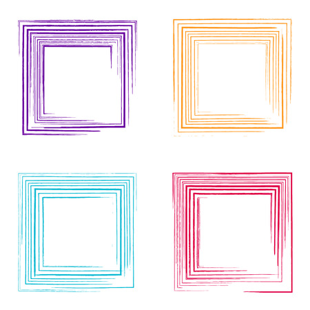 marked boxes: Colorful vector decorative grunge square frames collection