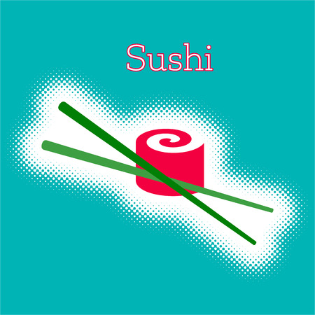 Vector sushi roll with chop sticks Illustration