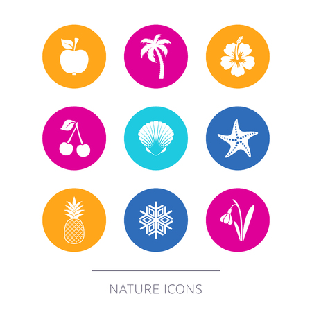 winter garden: Simple modern nature icons collection