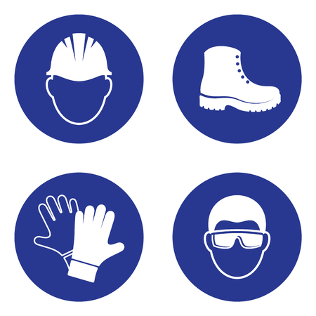 Simple mandatory health safety signs industrial applications set