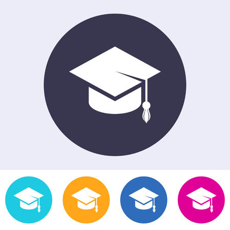 Simple flat vector education icon graduation cap sign