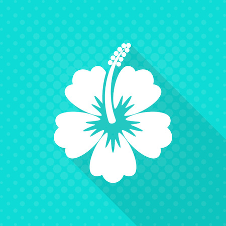 White vector hibiscus flower flat icon
