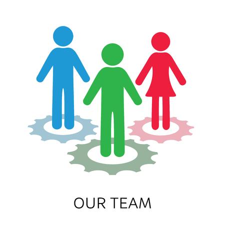 """Avatar simple de """"nuestro equipo"""", icono con diseño de ruedas dentadas."""