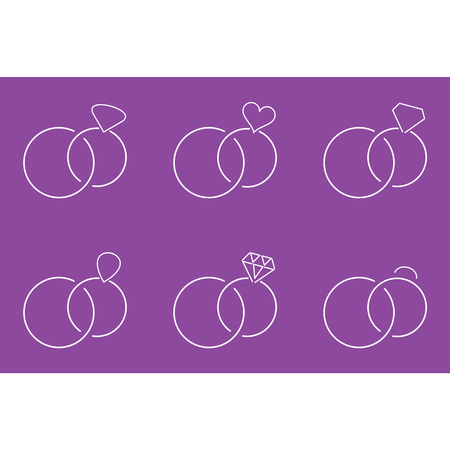 White thin line wedding rings designs template illustration in purple backdrop.