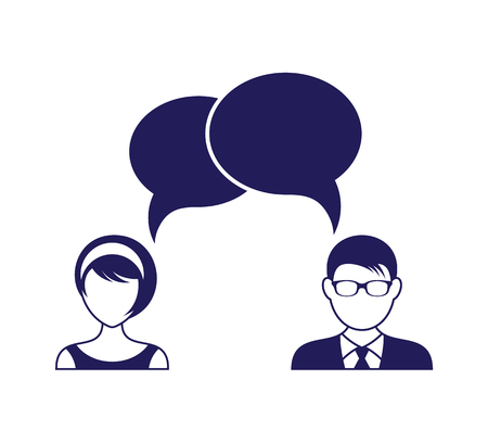 Man and woman with dialog speech bubbles.