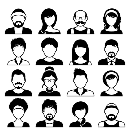 Black vector avatar icons male and female faces Çizim