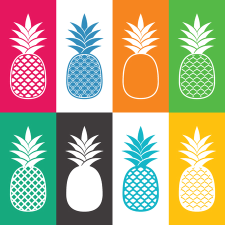Creative abstract pineapple icons.