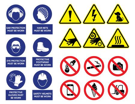 Vector health and safety signs set Illusztráció