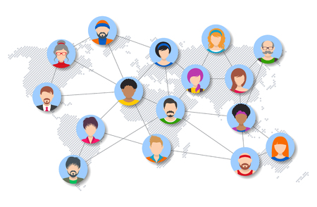Vector world people network diagram  イラスト・ベクター素材