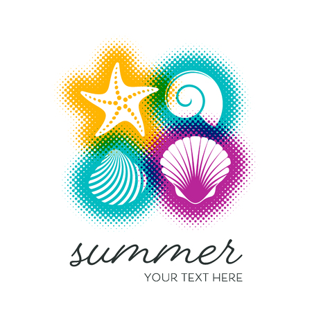 Vector summer card with seashells