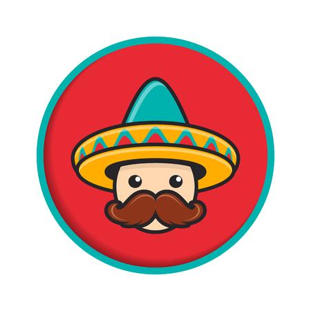 Cartoon man face with sombrero