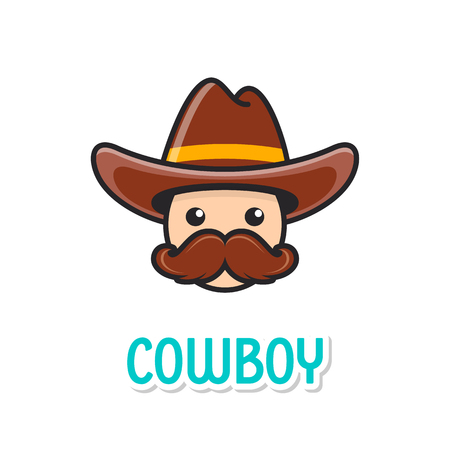Funny cowboy face with hat
