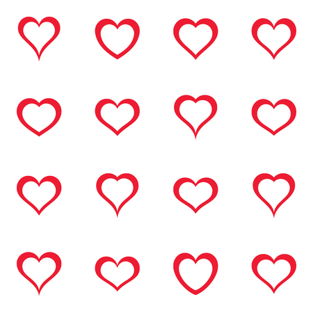 Vector simple red heart icons collection Zdjęcie Seryjne