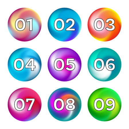 Rainbow color buttons with numbers