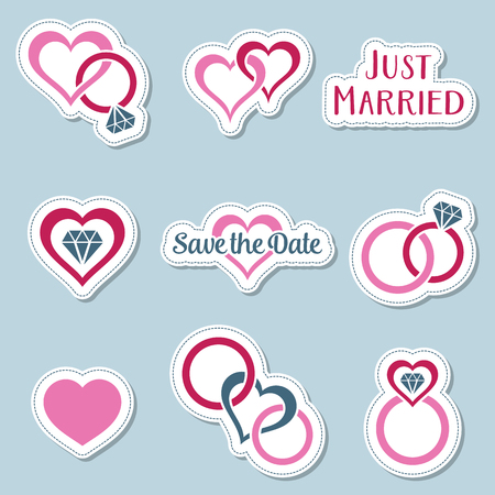 Etiquetas de símbolos de boda vintage