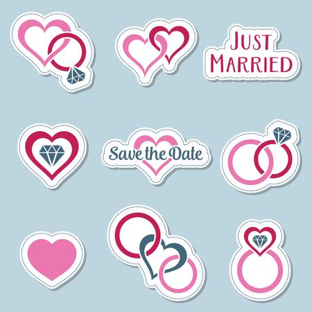 Vintage Hochzeitssymbole Etiketten