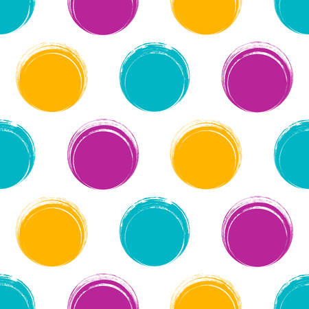 Vintage vector seamless background brush stroke colorful circles