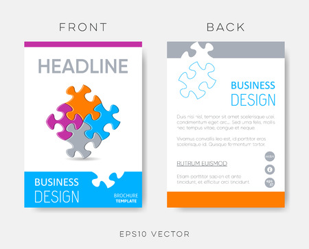 Vector brochure or leaflet design template puzzle pieces