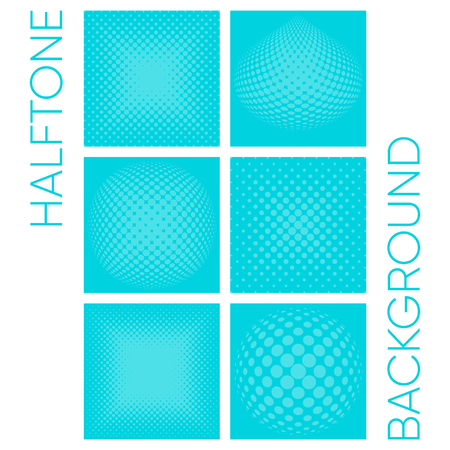 Modern vector halftone turquoise background template collection