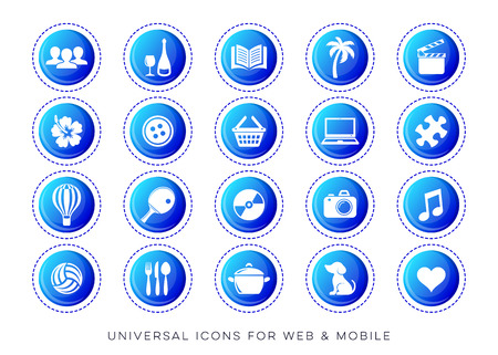 Blue vector universal leisure web and mobile icons