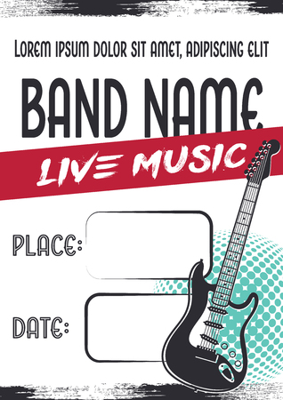 Rock music concert poster electric guitar icon template